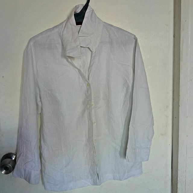Formal White Polo Med-L