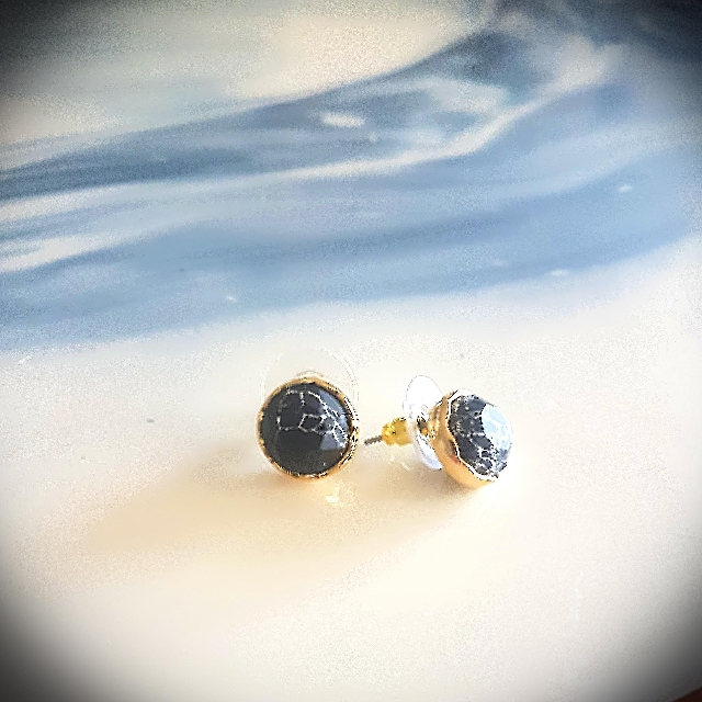 Gold & Black Marble Look Earrings