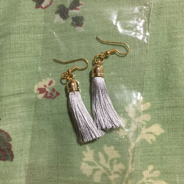 Grey Tassel Earring