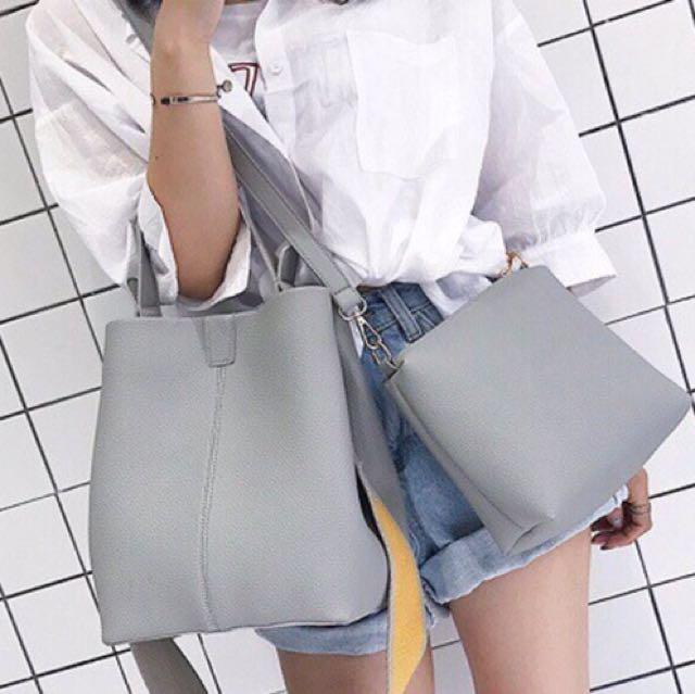 Grey Tote Bag - Free Sling Bag