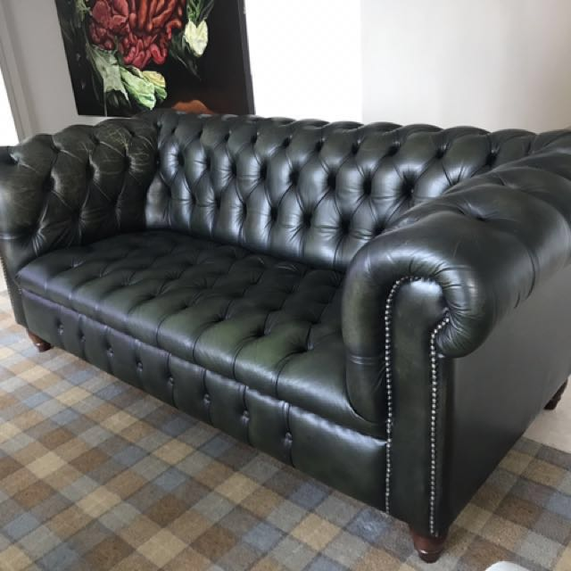 Handmade Full Leather 3 seater Chesterfield Sofa, Furniture, Sofas ...