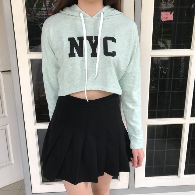KOREAN FASHION CROP HOODIE + SKORT