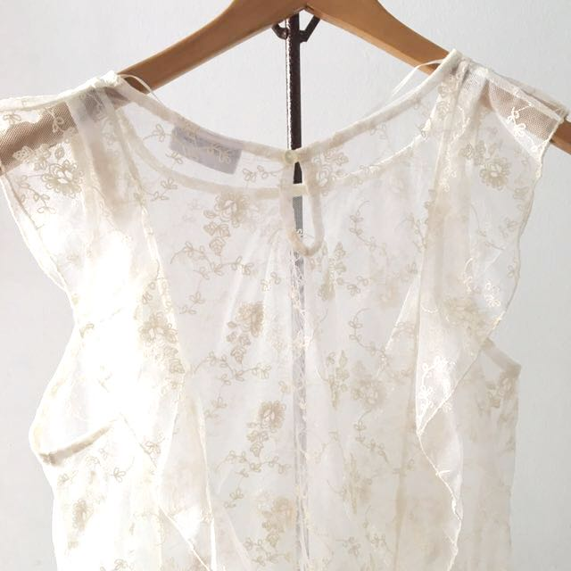 514a7b294608d1 Lacey White Top, Women's Fashion, Clothes, Tops on Carousell