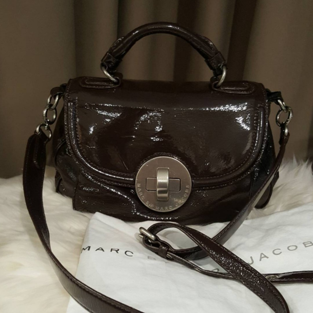 MARC JACOBS Burgundy Patent Leather Bag (preowned, like new).
