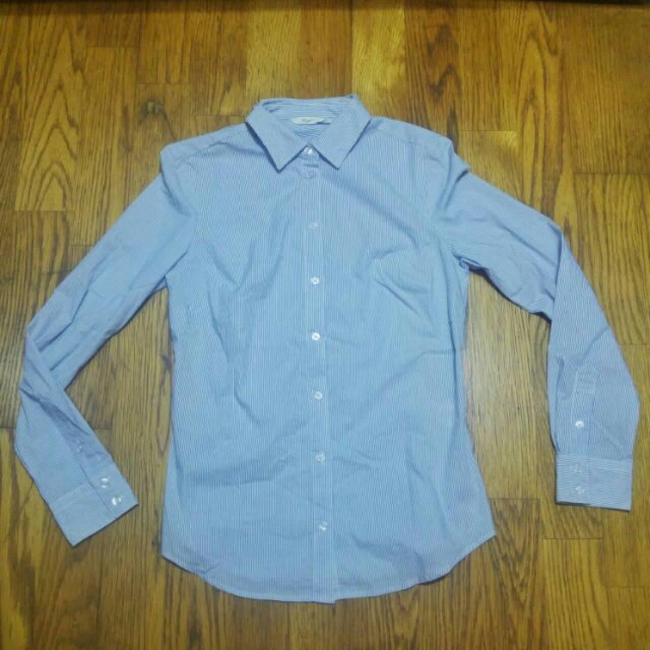 全新NET 中藍 細條紋 上班族襯衫   買到賺到!職場新鮮人看這!