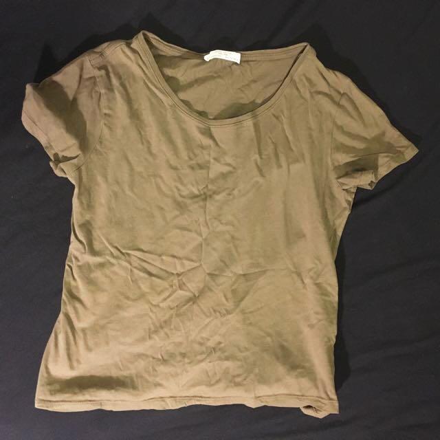 NEW Zara Organic Cotton Olive T-Shirt