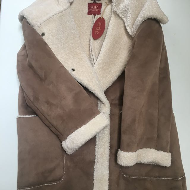 OVERSIZED SUEDE FUR COAT SIZE S