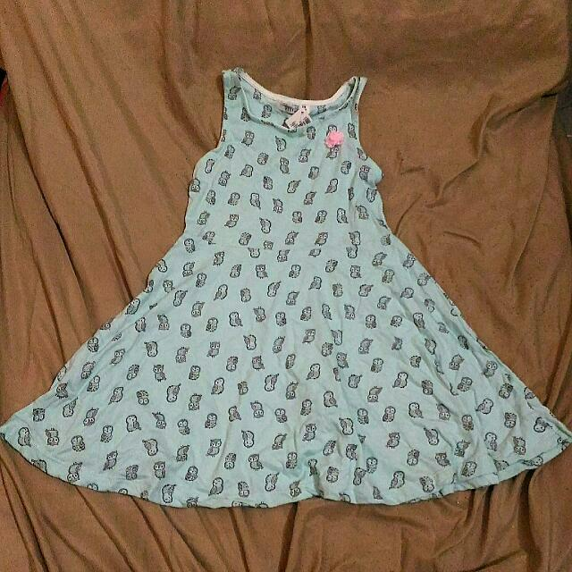 Owl-Printed Powder Blue Dress