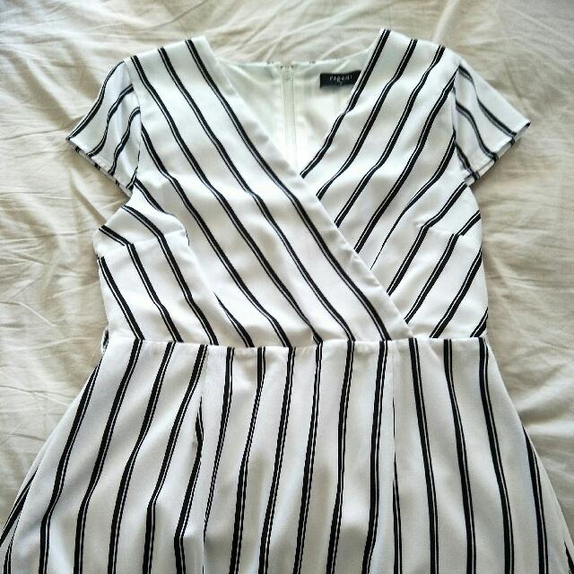 Pagani white and black stripe size 12 dress