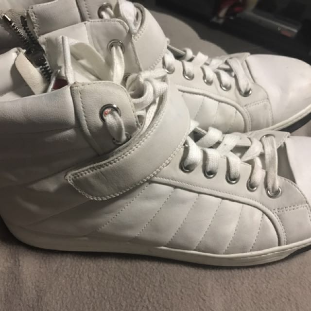 Prada Size 12 White mens casual high tops