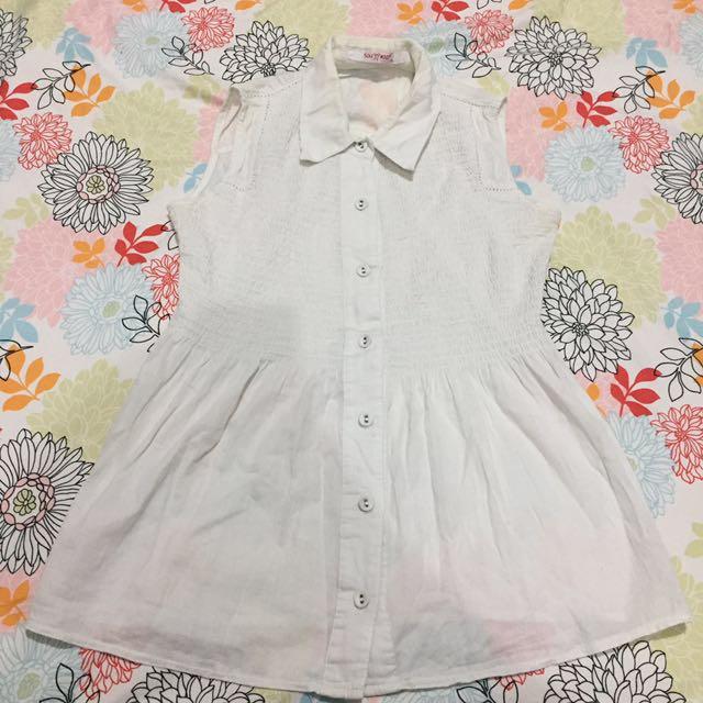 Preloved Peplum Sleeveless White Shirt