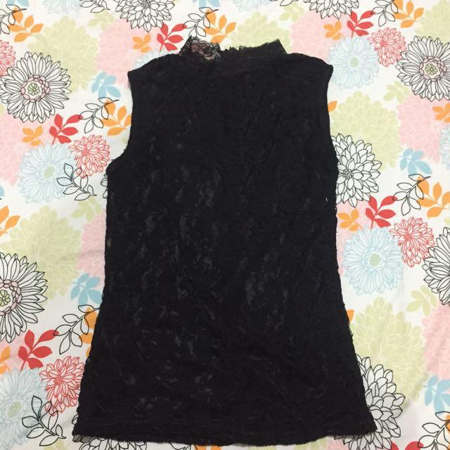 Preloved Turtleneck Lace Black Sleeveless