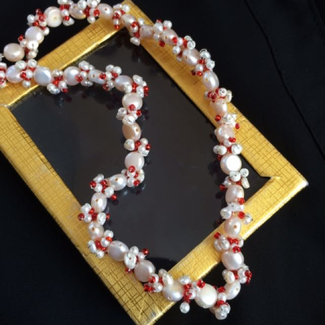 red and white pearl beaded headband