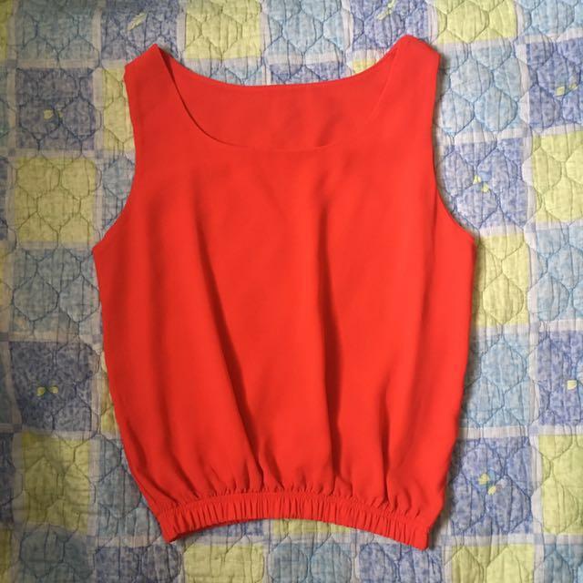Red Chiffon Sleeveless Top