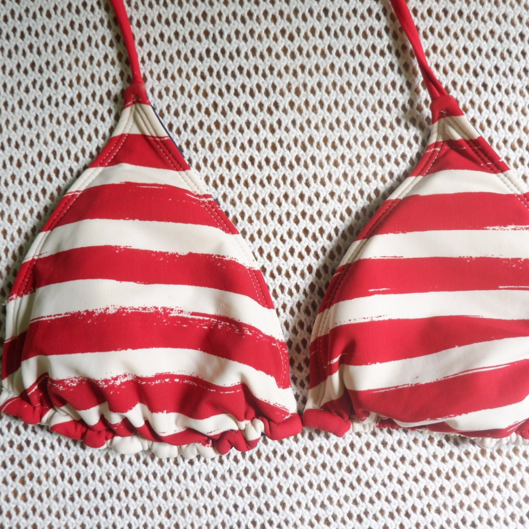 SALE Reversible Stripes and Stars Bikini Top MEDIUM (Swimwear, Beachwear, Swimsuit)