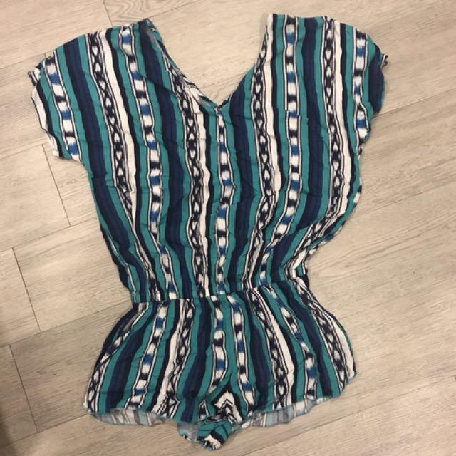 Roxy 民族 民俗圖騰 V領 連身褲 藍綠條紋