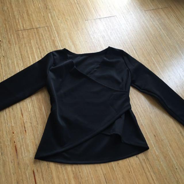 Scuba long sleeves blouse black assymmetric asimetris