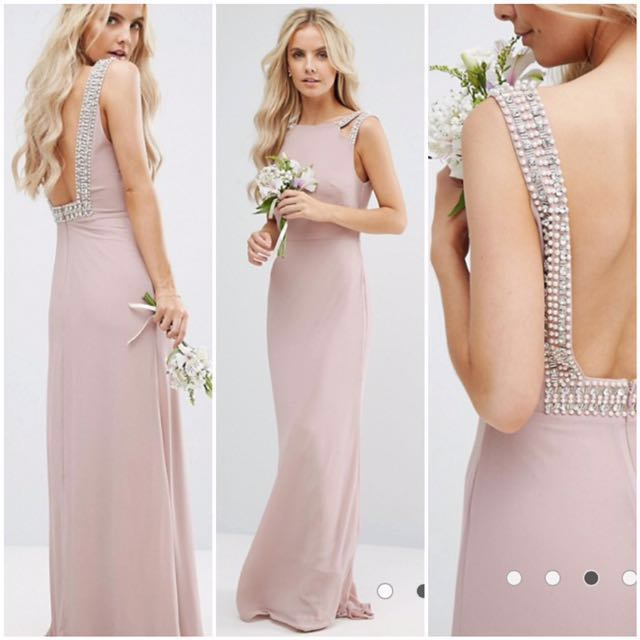 Tfnc Petite Wedding High Neck Maxi Dress With Embellished Low Back Mauve Women S Fashion Clothes Dresses Skirts On Carousell,Long Indian Dresses For Weddings
