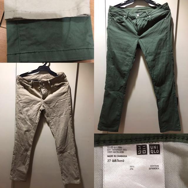 Uniqlo Women's Khaki Pants Size 27 2 pieces