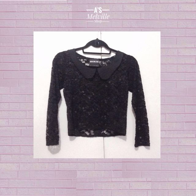 Vintage Lace Round-Collar Sleeves Top
