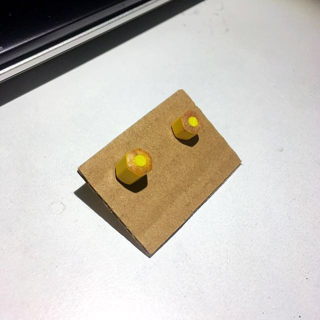 Yellow Pencil End Studs