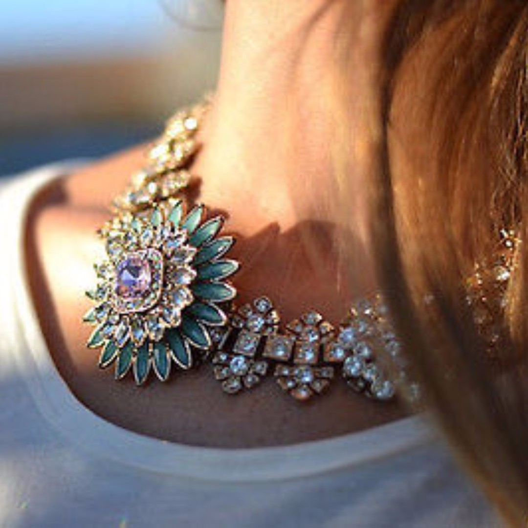 Zara Floral Crystal Statement Necklace