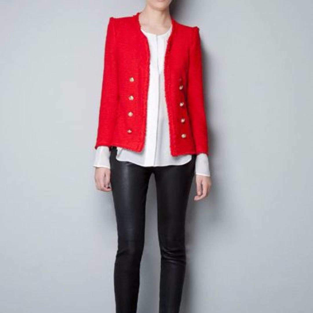 Zara Red Tweed Blazer