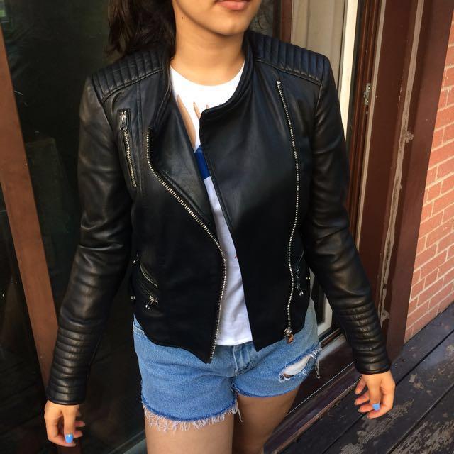 Zara Trafaluc Black Faux Leather Jacket