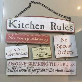 Kitchen Rules Hanging Frame