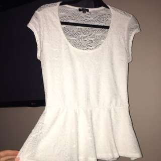 Guess White Peplum Top Size M