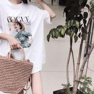 韓國時髦女VOGUE短袖寬版T