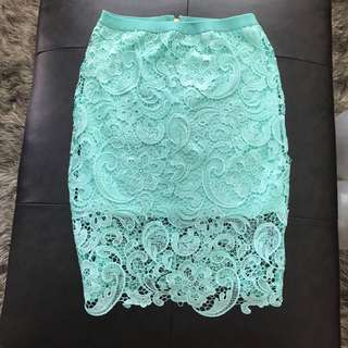 Turquoise green lace skirt size small