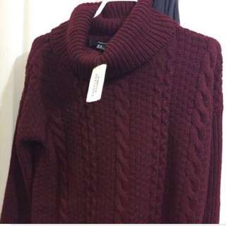 F21 burgundy turtleneck sweater