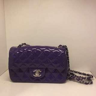 正品 全新 Chanel 紫色 Mini Flap 漆皮菱格銀鍊