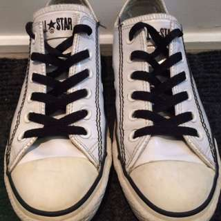White Patent Leather Converse