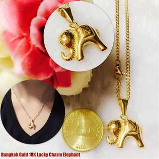 Authentic Bangkok Gold 18K Lucky Charm Elephant Necklace