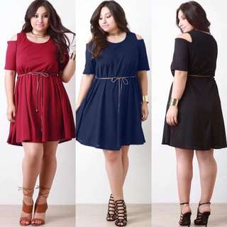COLD SHOULDER PLUS SIZE DRESS