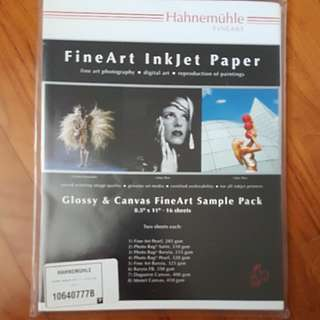 Hahnemuhle Fineart Inkjet Paper Glossy And Canvas Sample Pack