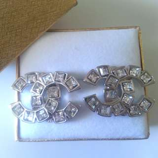 Chanel Style Silver Stud Earrings