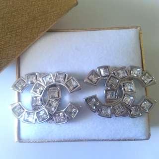 Chanel Style Silver Stud Earrings