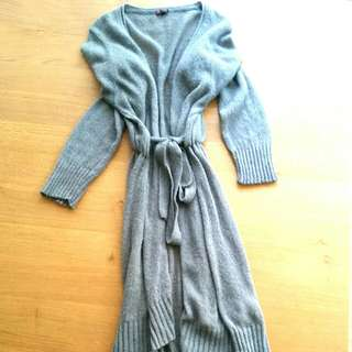 Knitted Grey Long Maxi Cardigan, Made In Italy