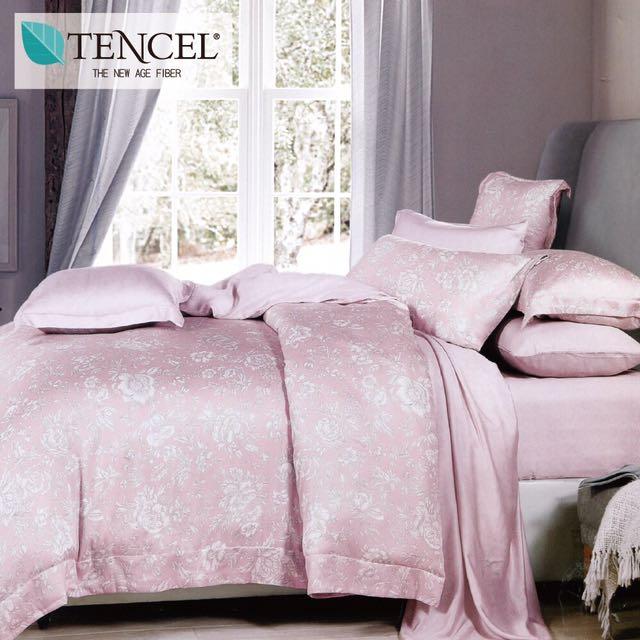 【樂】100%天絲TENCEL 雙人/雙人加大/特大 40支天絲 四件式鋪棉兩用被套床包組&鋪棉兩用被套床罩組(暗香疏影-粉)