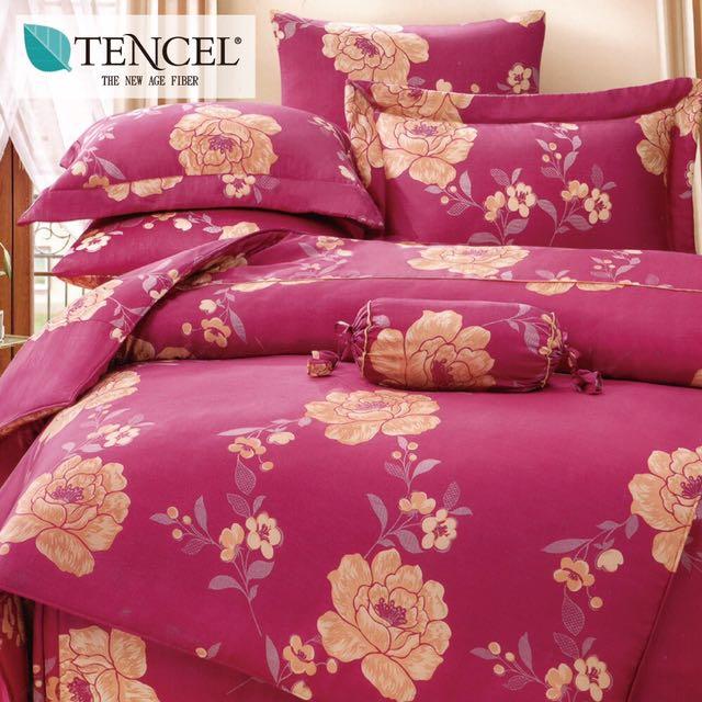 【樂】100%天絲TENCEL 雙人/雙人加大/特大 40支天絲 四件式鋪棉兩用被套床包組&鋪棉兩用被套床罩組(花開)