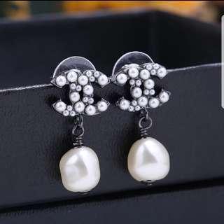 Chanel Gunblack With Dangling Pearl Earrings