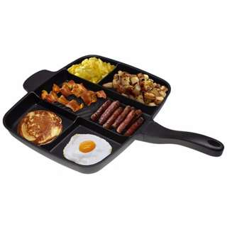 Multi Pan Non-Stick Multi-Section 5-in-1 Frying Grill Fry Oven Meal Skillet Multipan