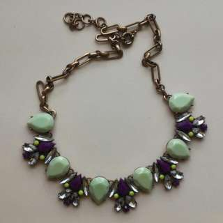 [BN] Mint Green And Purple Gem Stone Statement Necklace
