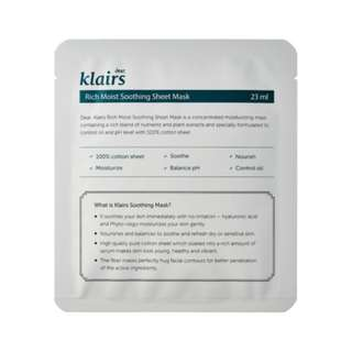 KLAIRS RICH MOIST SOOTHING SHEET MASK x 2