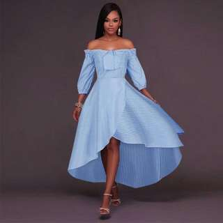 Off Shoulder 3/4 Sleeve Blue Stripe Dress