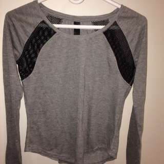 Aeropostale Cute Grey And Black Mesh Long Sleeve