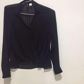 Hnm h&m formal black blouse